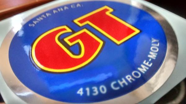 """Coin Decal 2 1//4/""""x 1984-85 Blue /& Chrome Foil GT Santa Ana Ca Old School BMX"""