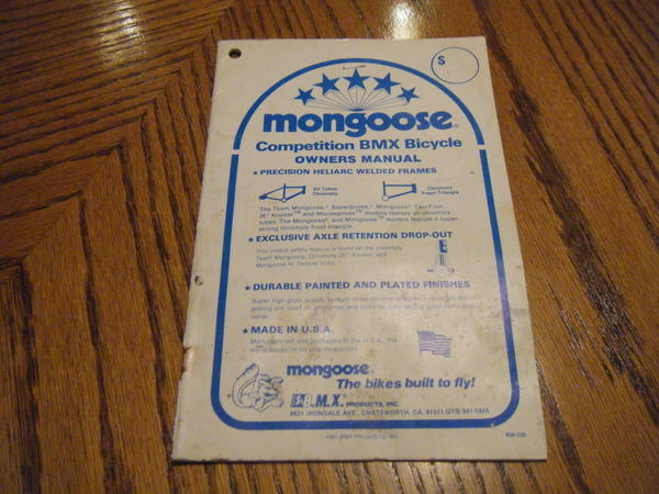 bmxmuseum com for sale 1981 mongoose owners manual rh bmxmuseum com mongoose scooter owners manual kymco mongoose 90 owners manual