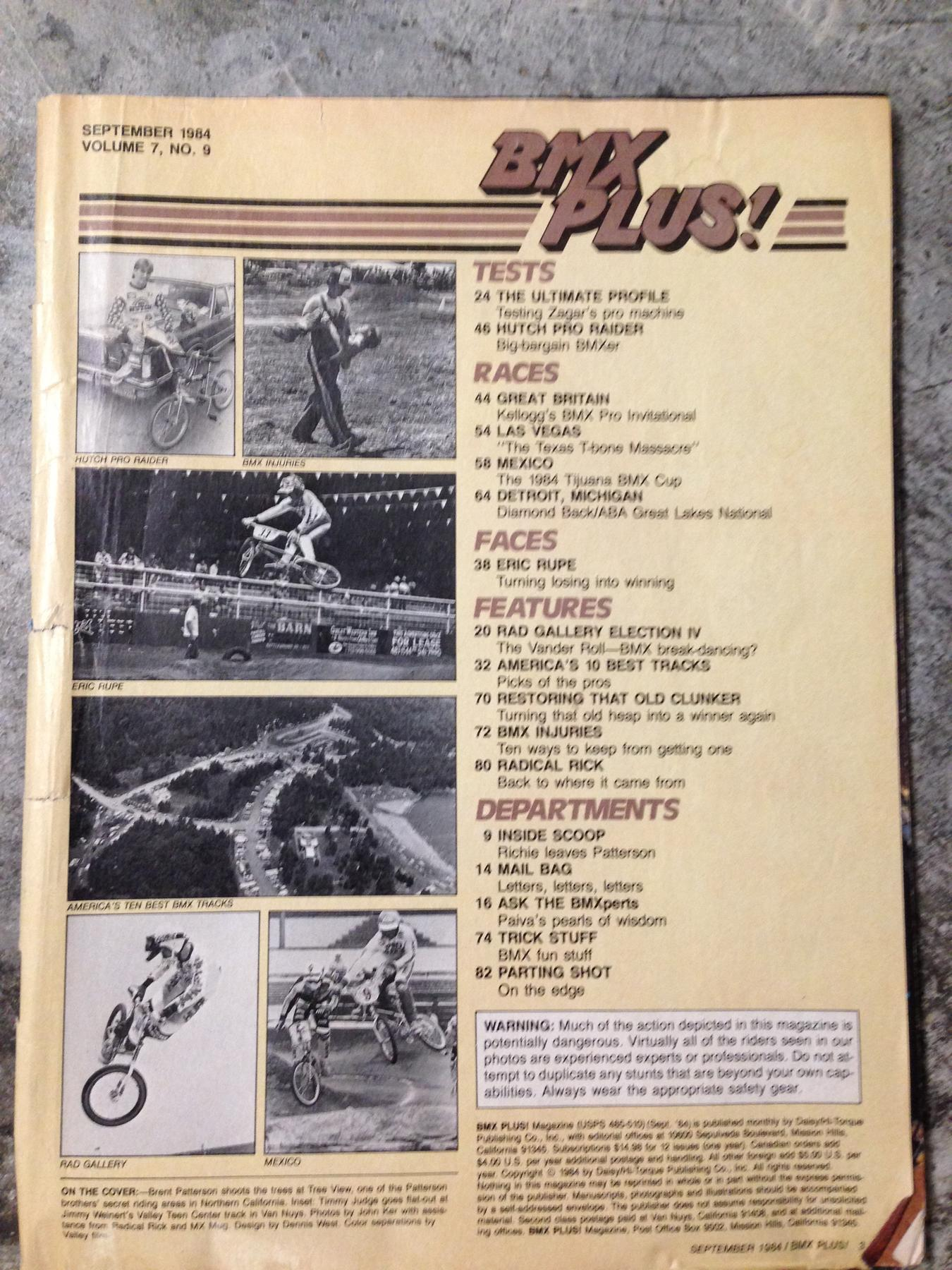 BMXmuseum com For Sale / BMXPLUS September 1984