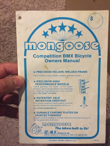 bmxmuseum com for sale 1984 mongoose owners manual rh bmxmuseum com mongoose xr 250 owners manual mongoose owner's manual