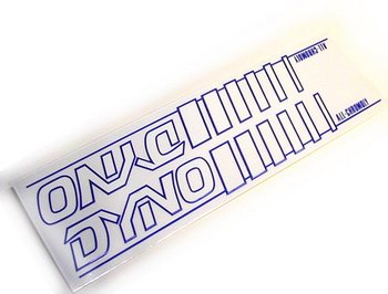 Sticker, Dyno, frame size BLUE