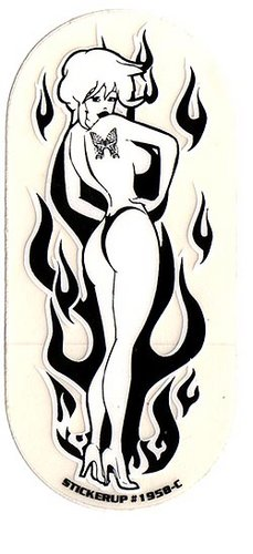 Flame girl Black and White