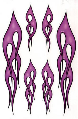 Flame decals 6 pack in PURPLE
