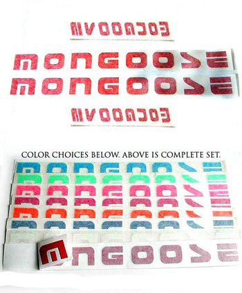 Stickers, Mongoose Rub-on, Color Choice