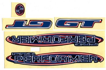 Sticker set, GT, pro performer 90's blue