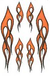 Flame Stickers 6 pack in Black/ Orange cover