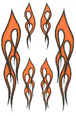 Flame Stickers 6 pack in Black/ Orange