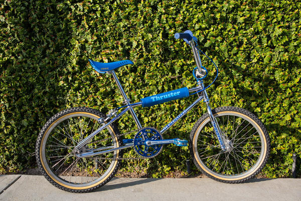 old school bmx Thruster BAR AND STEM BLUE decals on CHROME